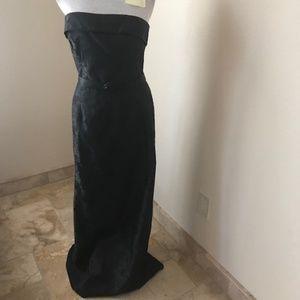 Kay Unger Black Strapless Gown w Fox Collar Jacket